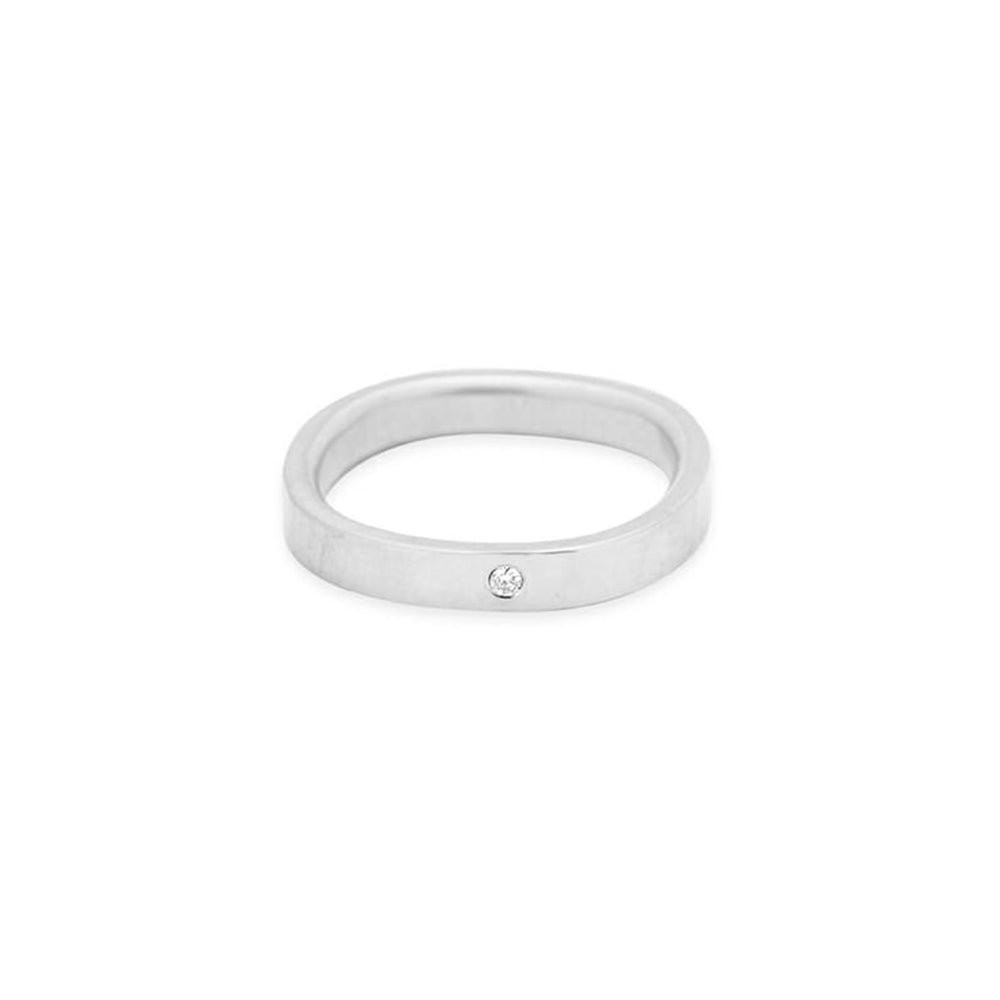3mm Wide Silver Round Ring with Diamond