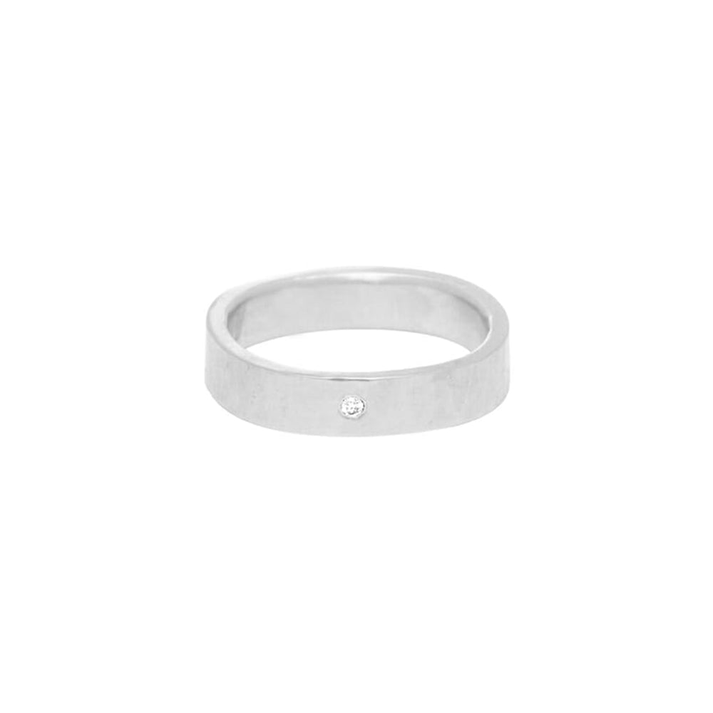 SSQ4-1.5 4mm Matte Silver Hammered Square Ring with 1.5mm Diamond