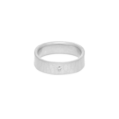 SSQ5-2.0 5mm Matte Silver Hammered Square Ring with 2.0mm Diamond