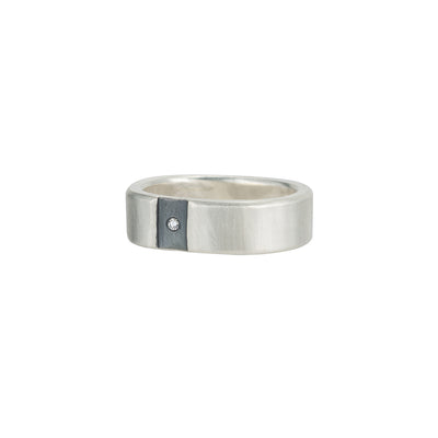 SRS6-C-1.5 Channel & Diamond Sterling Round Ring