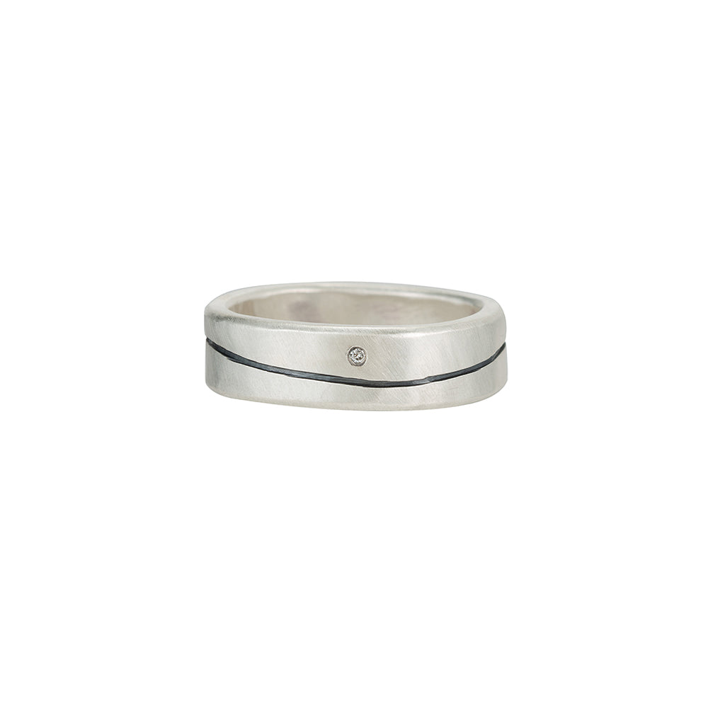 R-SRS6-L-1.0 Line & Channel Sterling Round Ring