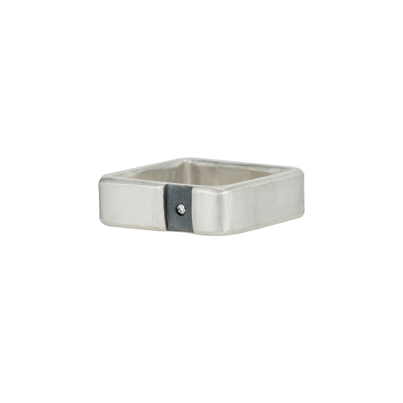 SSQ6-C-1.5 Channel & Diamond Sterling Square Ring