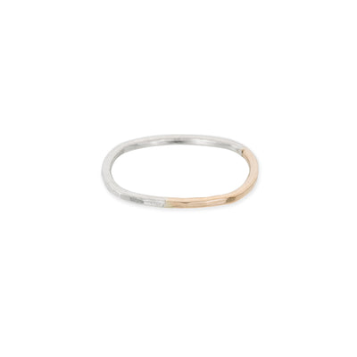 TTNRS Thin Two-Toned Mixed Metal Sterling Silver & Yellow Gold Round Ring