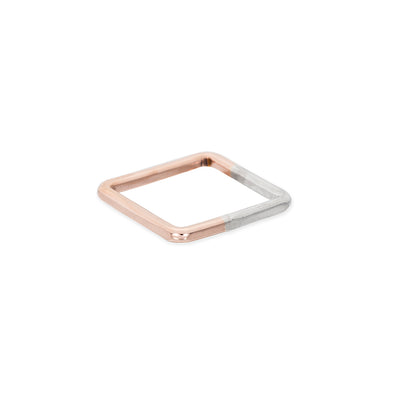 TTSQ.rg Thick Two-Toned Sterling Silver & Rose Gold Square Individual Ring
