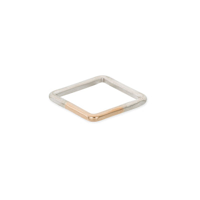 TTSQ Thick Two-Toned Sterling Silver & Yellow Gold Square Individual Ring