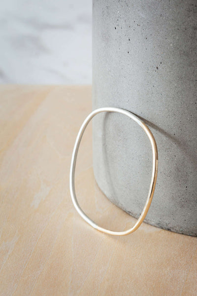 B99s.yg Thick Silver and Gold Square Bangle