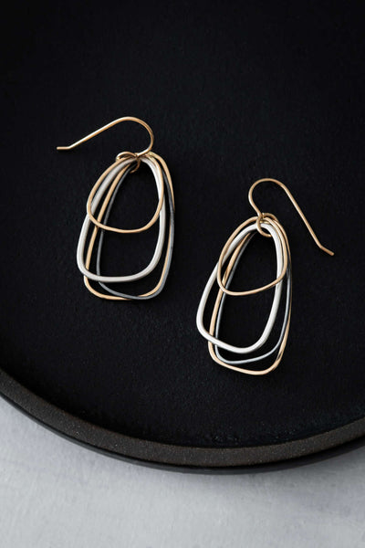 E330g.rg Rose Gold, Silver & Black Multi Triangle Earrings