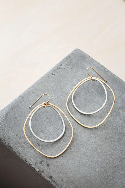 E335g.yg Large Double Angular Hoop Earrings in Yellow Gold and Silver