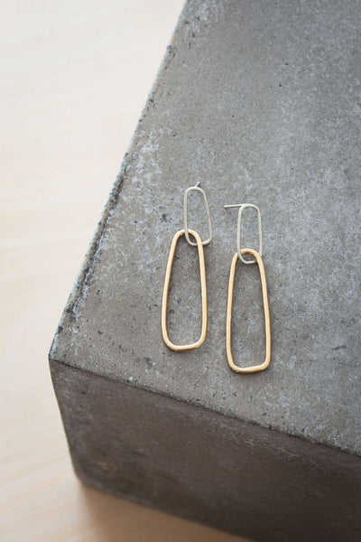 E336s.yg Interlocking Rectangle Post Earrings in Silver and Yellow Gold