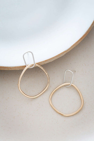 E337s.yg Interlocking Rectangle and Square Post Earrings in Silver and Yellow Gold