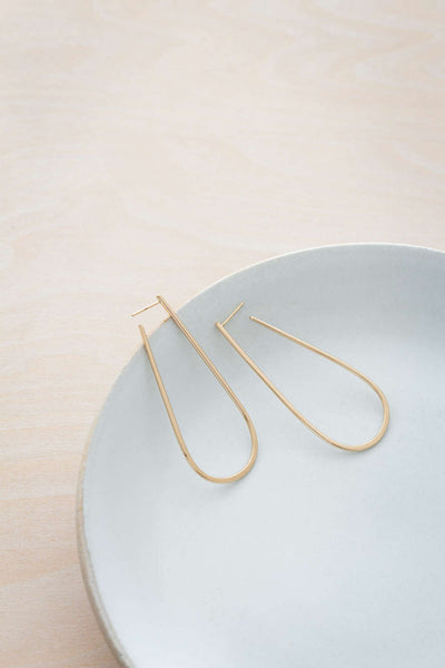 E339yg Large U Post Earrings in Yellow Gold