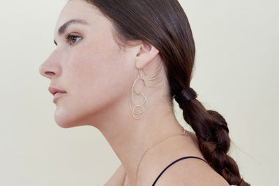 E159s.rg Long Organic Multi-Hoop Earrings in Rose Gold and Sterling Silver