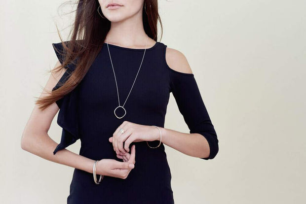 Long Silver & Gold Rounded Square Necklace 1