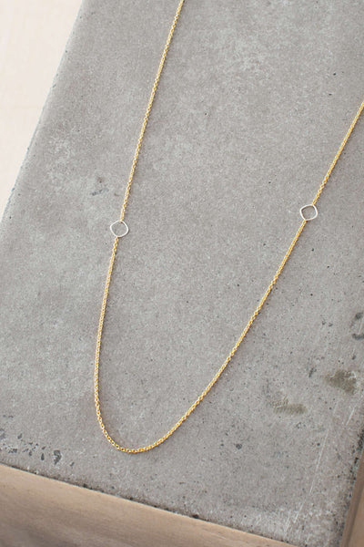 N304g.yg Yellow Gold and Silver Delicate Chain Necklace