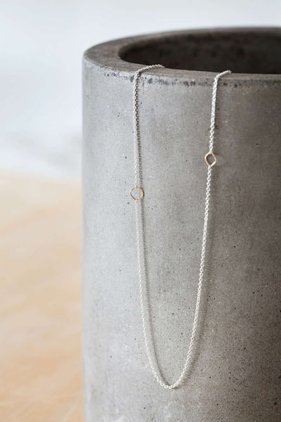 N304s.yg Silver and Yellow Gold Delicate Chain Necklace