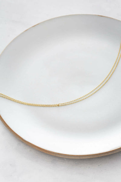 N305 Delicate Double Yellow Gold Monotone Chain Necklace - Lifestyle Image