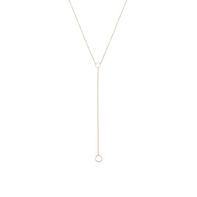 N310g.rg Square Lariat Necklace in Rose Gold and Sterling Silver