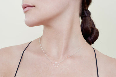 N303s Simple Rounded Square Necklace in Sterling Silver - Model Image
