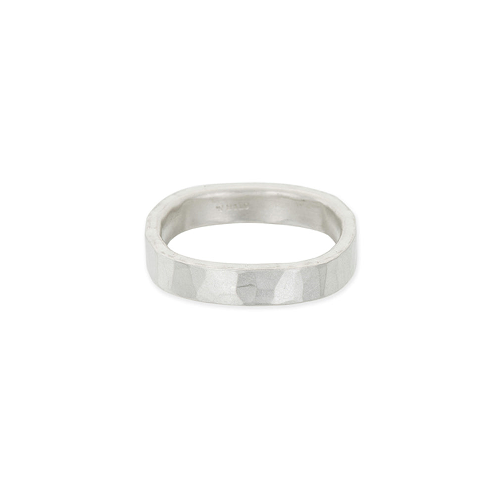 4mm Wide Black or Silver Round Ring