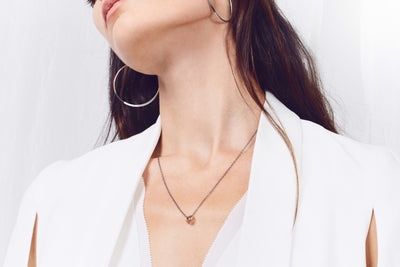 N283x.rg Black Oxidized Silver and Rose Gold Cinq Necklace - Model Image