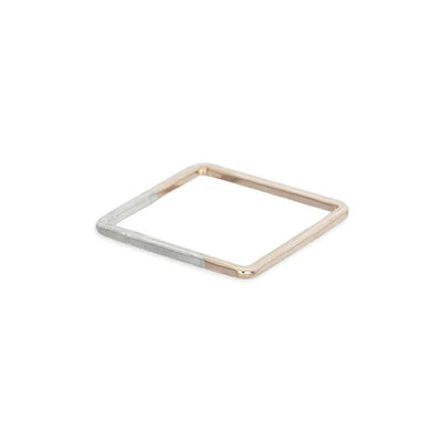 TTNSQ Thin Square Stacking Ring in Sterling Silver and Yellow Gold