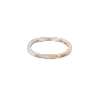 TTRS Thick Yellow Gold & Silver Individual Round Stacking Ring