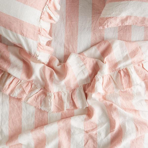 Blush Stripe Ruffle Flat Sheet