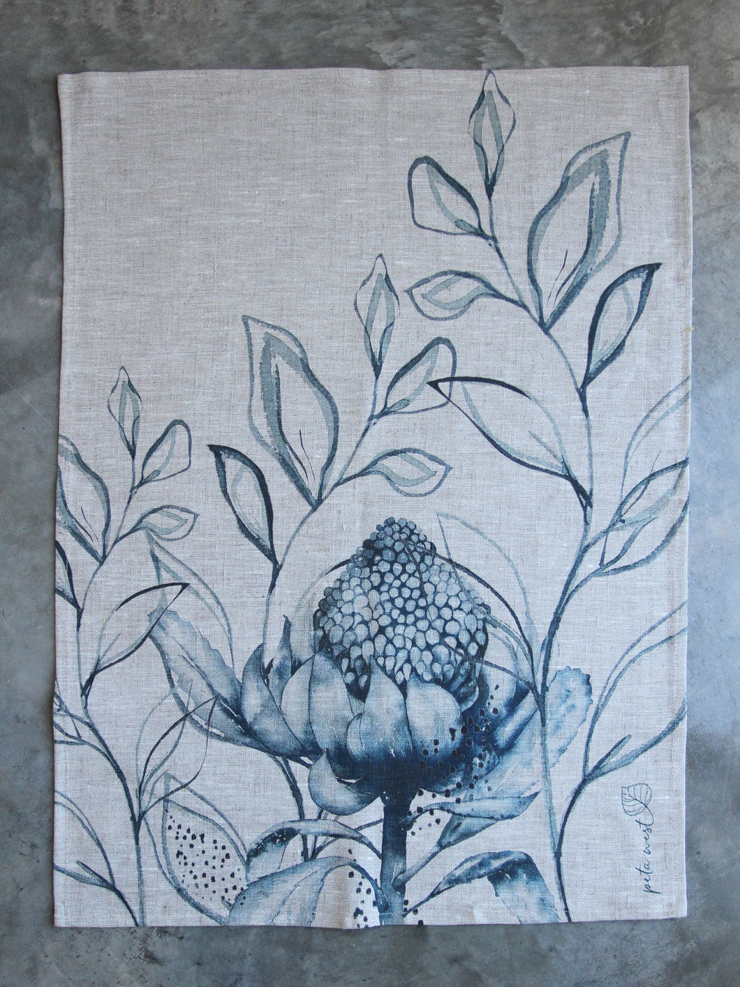 Waratah Tea Towel - Oatmeal