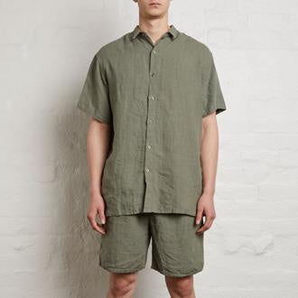 Mens Linen Short Sleeve Shirt