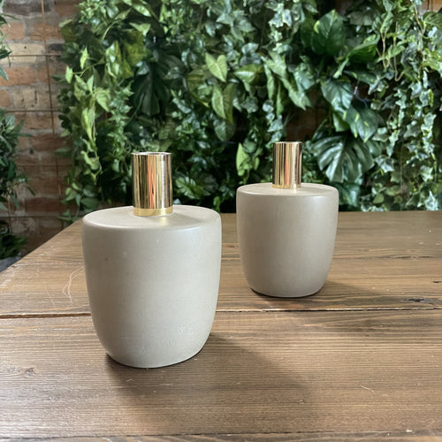 Concrete Candle Holder with Brass Top
