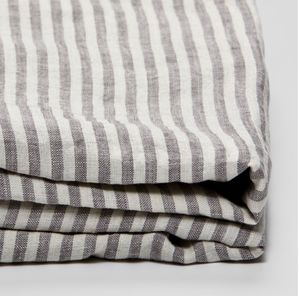 Grey & White Stripe Fitted Sheet