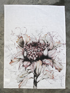 White Waratah & Gum Tea Towel