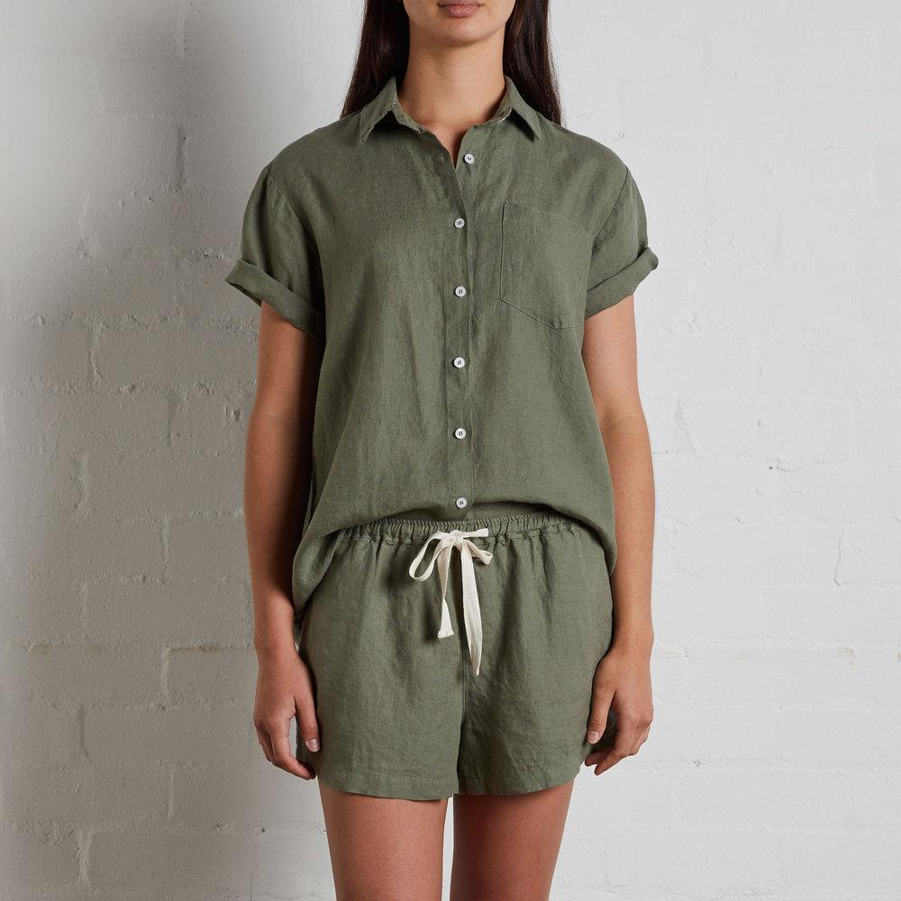 Womens Short Sleeve Shirt - Khaki