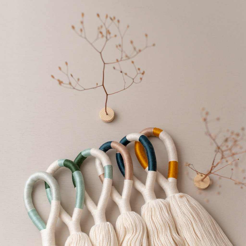 Tassel Wall Hanging in White and 3-Color Combo