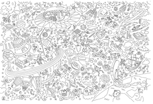 Cosmos Giant Coloring Poster - Adele Gilani Art Gallery