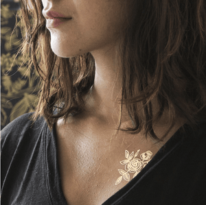 Gold Floral Metallic Tattoo Pair - Adele Gilani Art Gallery
