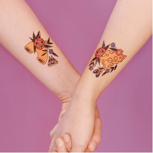 "Mac & Cheese ""Best Friends"" Tattoo Pair - Adele Gilani Art Gallery"