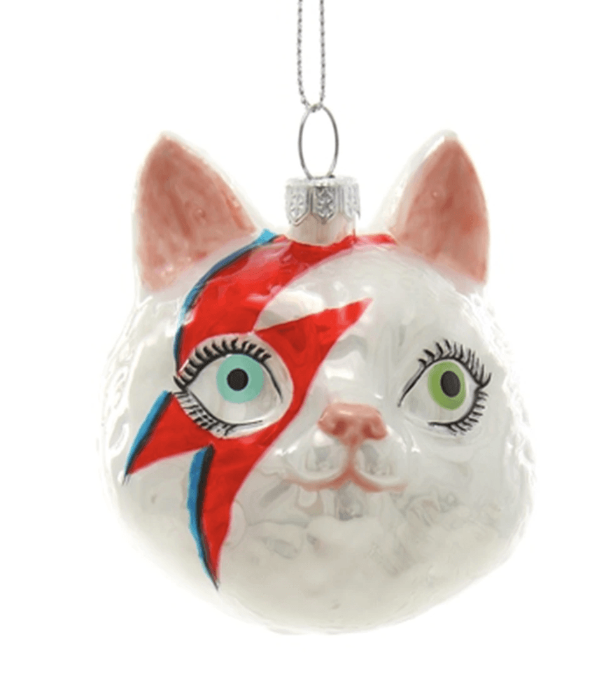 Meowie Bowie Holidy Ornament - Adele Gilani Art Gallery