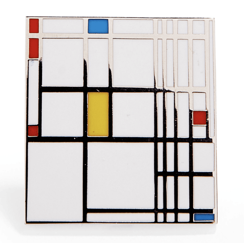 Piet Mondrian: Composition in Red, Blue, and Yellow Enamel Pin - Adele Gilani Art Gallery