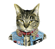 Load image into Gallery viewer, Punk Cat Tattoo Pair - Adele Gilani Art Gallery