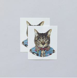 Punk Cat Tattoo Pair - Adele Gilani Art Gallery