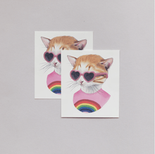 Load image into Gallery viewer, Rainbow Kitty Tattoo Pair - Adele Gilani Art Gallery