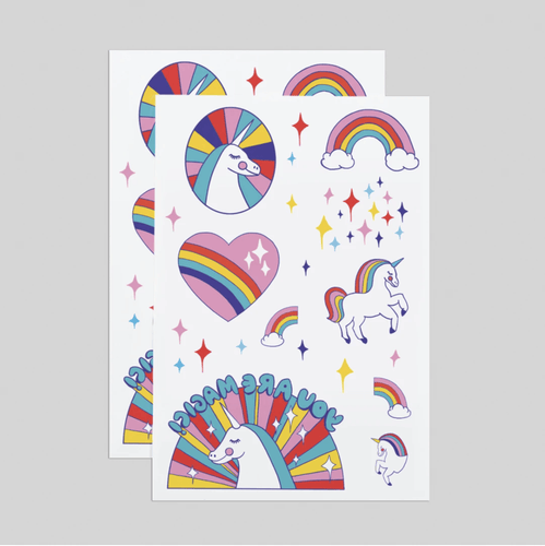 Rainbow Unicorns Tattoo Sheets - Adele Gilani Art Gallery