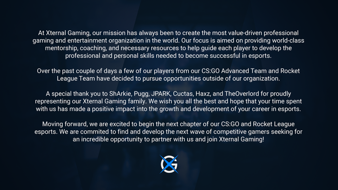 Statement on our CS:GO Advanced Team & Rocket League Team