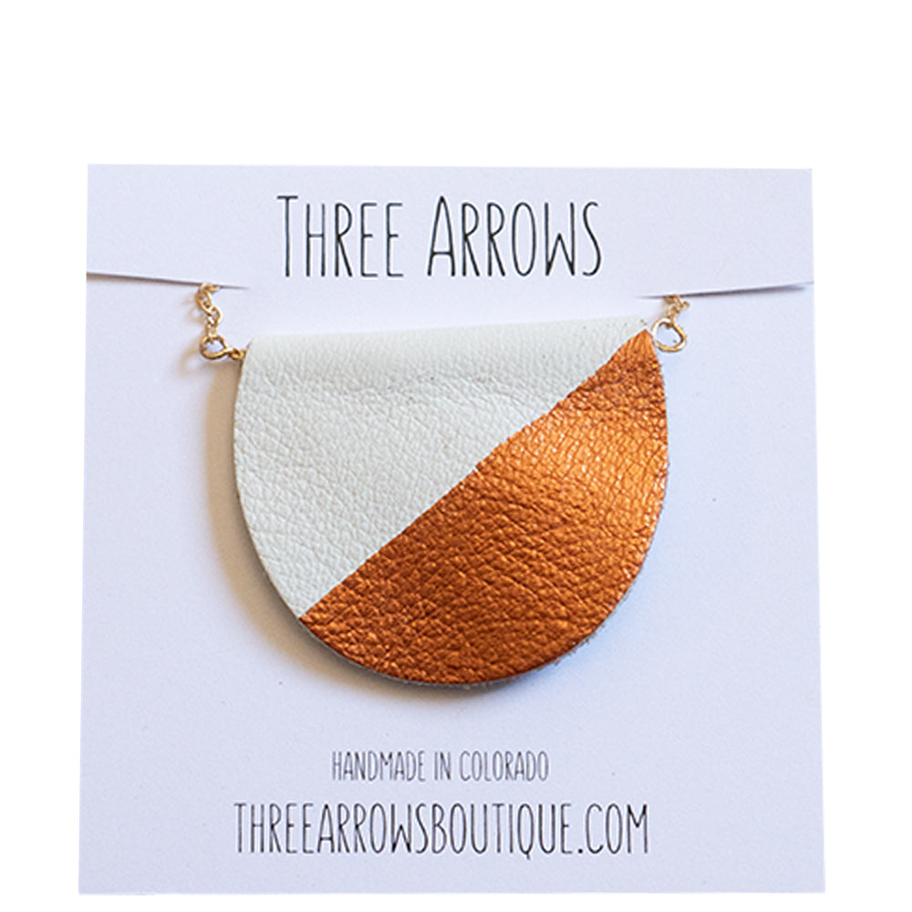 Leather Pendant Necklace - Three Arrows