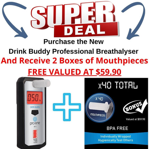 Drink Buddy Breathalyser Professional BT-2 Special Offer Bonus Mouthpeices