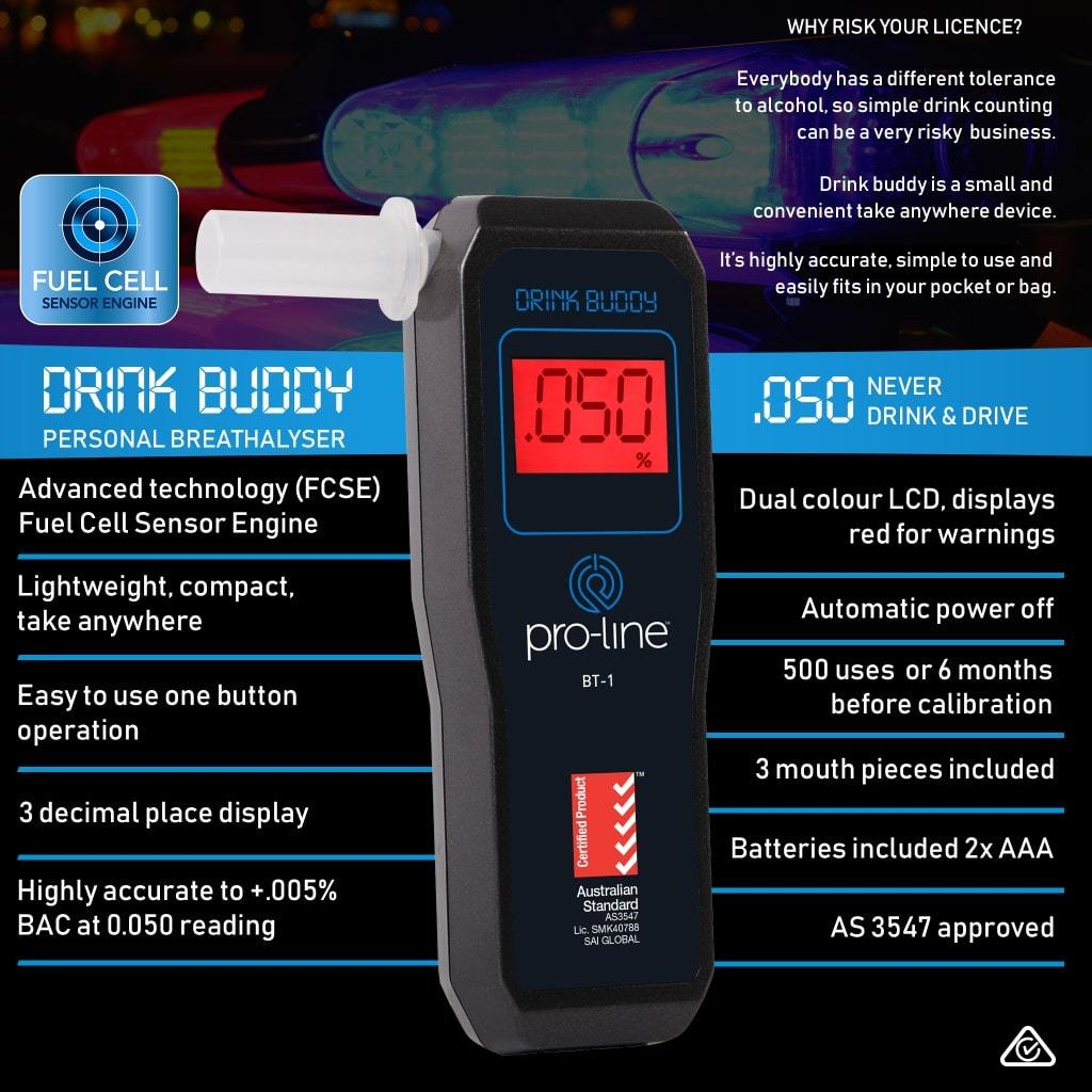 Drink Buddy Breathalyser  BT-1 Specifications
