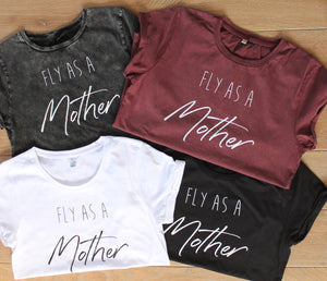 Fly as a Mother Tee- Black Rolled Sleeve