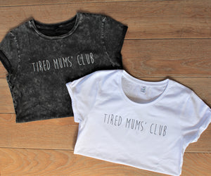 Tired Mums' Club Tee- Acid Wash Black