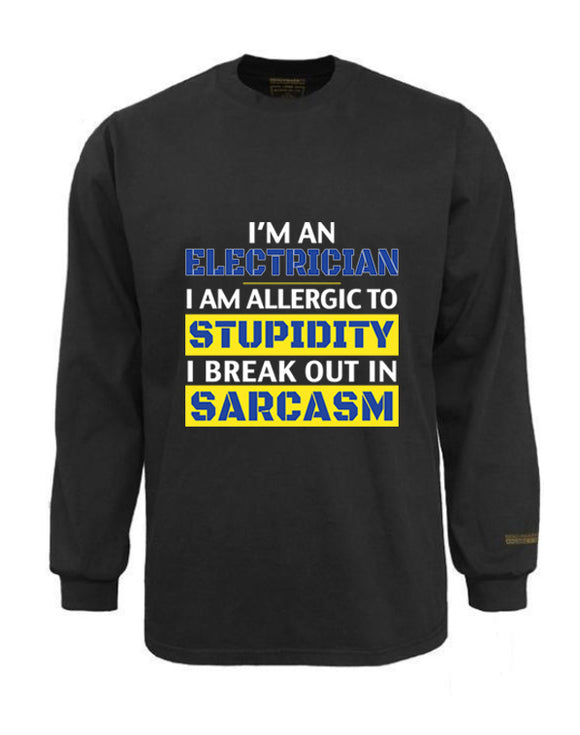 Electrician Flame & Arc Flash Resistant Custom Graphic Work Shirt Allergic To Stupidity